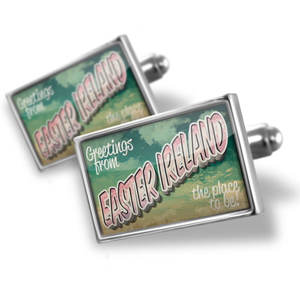Cufflinks Greetings from Easter Ireland, Vintage Postcard - NEONBLOND