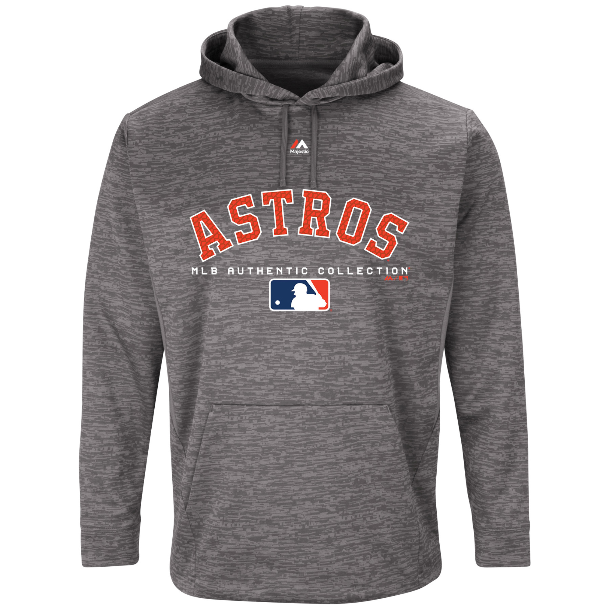 Houston Astros Majestic Authentic Collection Team Drive Ultra-Streak Fleece Therma Base Pullover Hoodie - Graphite