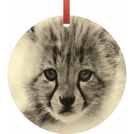 Baby Cheetah - TM Flat Round-Shaped Aluminum Hanging Holiday Tree Ornament Made in the U.S.A.