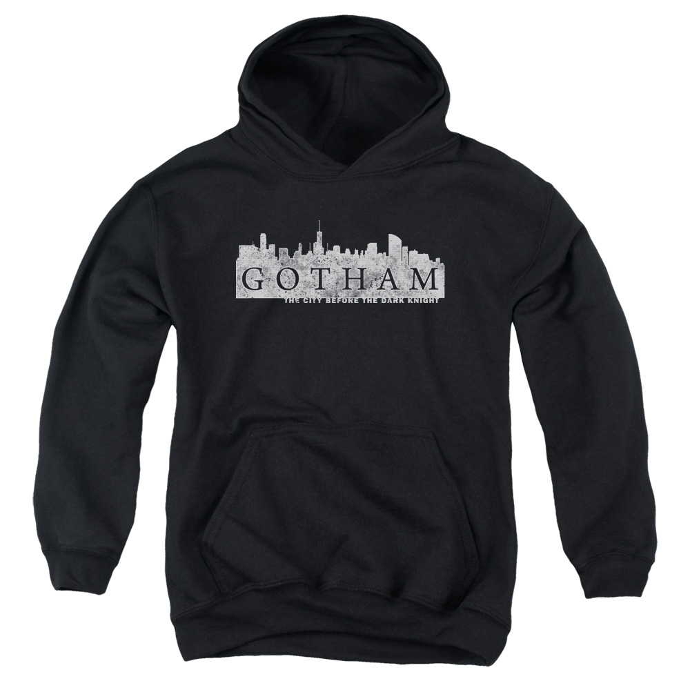 Batman Gotham Skyline Logo Big Boys Pullover Hoodie