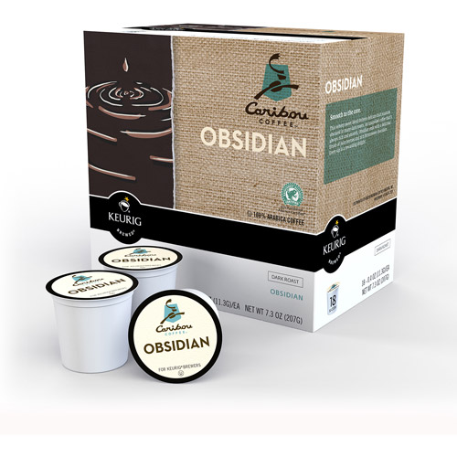 Caribou Coffee Obsidian Dark Roast K-Cups Coffee, 18 count