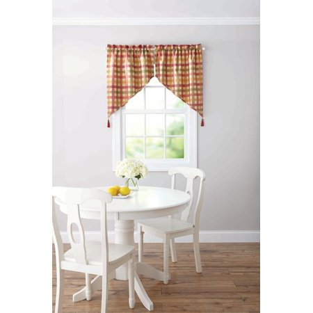Better Homes And Gardens Red Check Tier  Valance  Or Swag Valance
