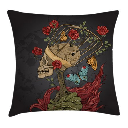 Skull Throw Pillow Cushion Cover, Evil Mexican Sugar Skeleton with Kitsch Bush of Roses Snake and Butterfly Artwork, Decorative Square Accent Pillow Case, 16 X 16 Inches, Ruby Dark Grey, (Mexican Bush)