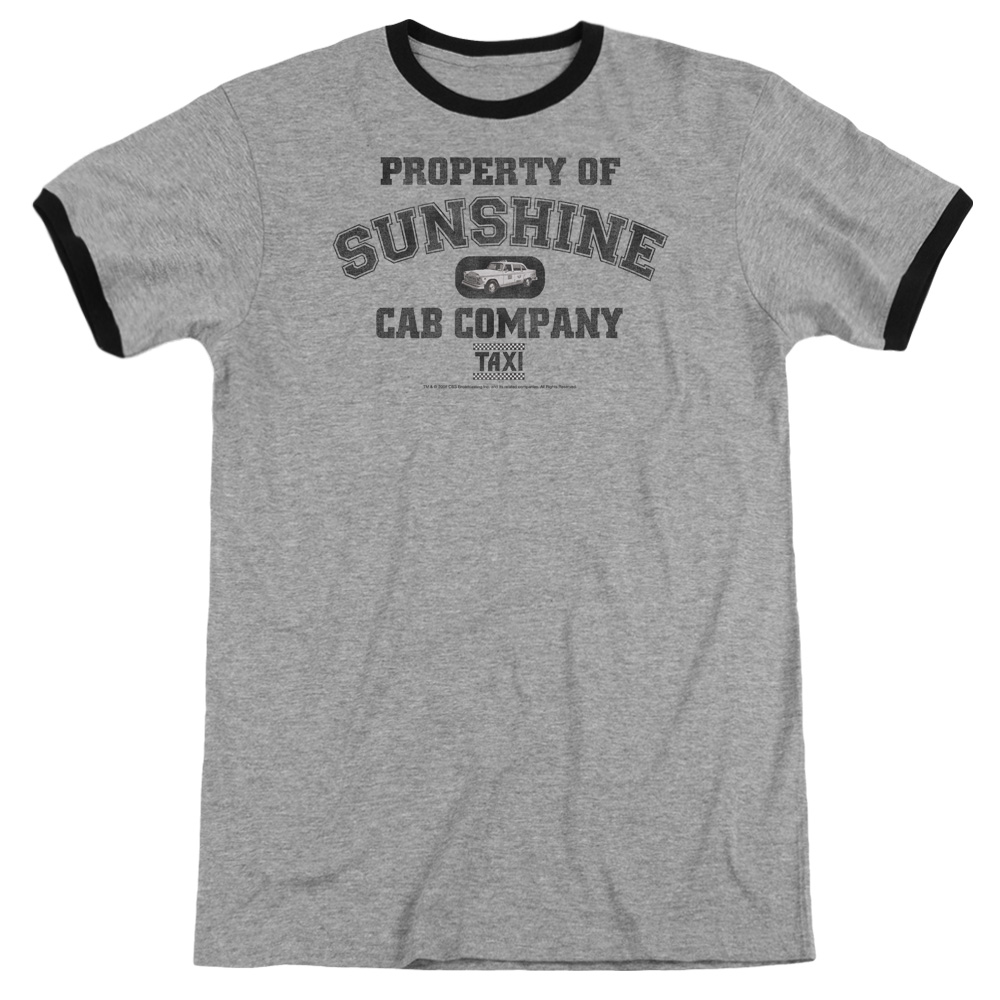 Taxi Property Of Sunshine Cab Mens Adult Heather Ringer Shirt