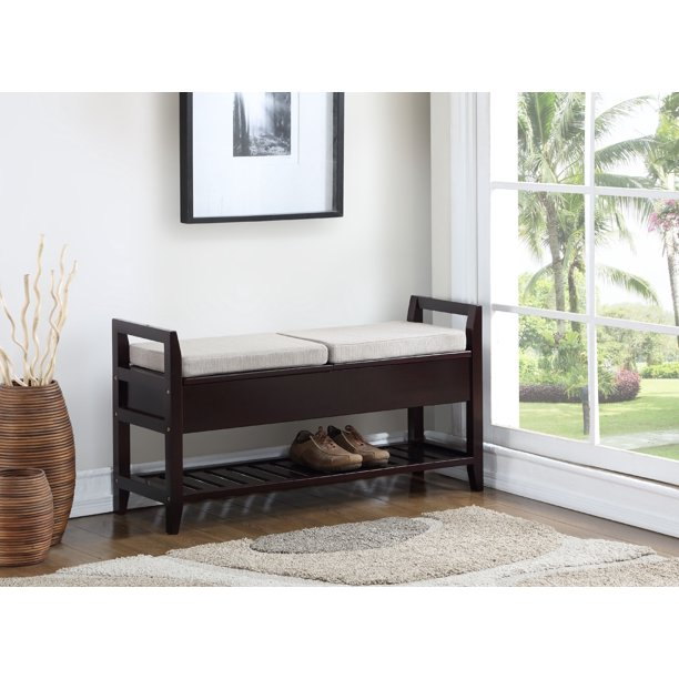 Roundhill Furniture Vannes Espresso Storage Shoe Bench