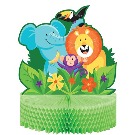Pack of 6 Green and Aqua Blue Jungle Safari Centerpieces 12