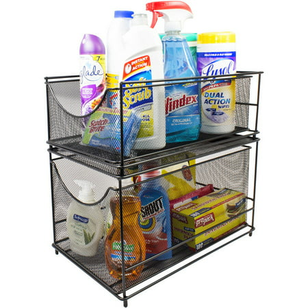 Sorbus Cabinet Organizer Drawers-Mesh Storage Organizer with Pull Out Drawers (2-Piece Set)