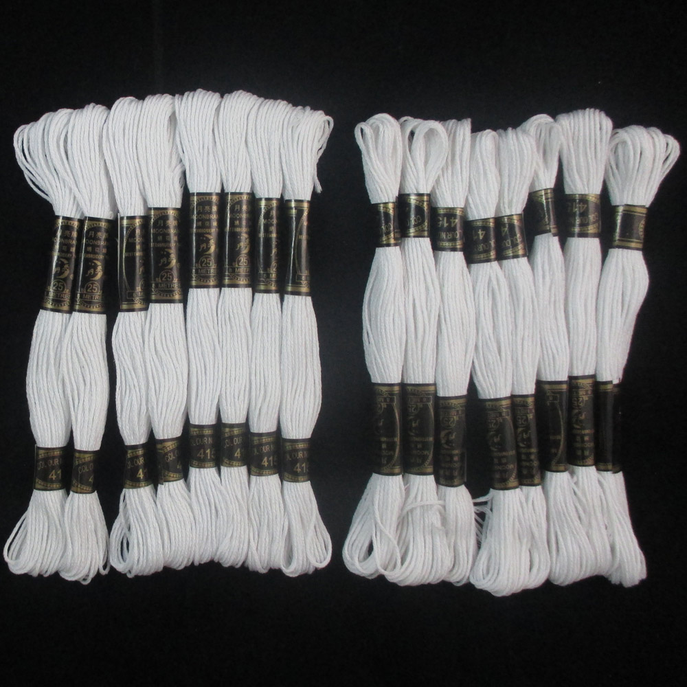 16 White Stranded Cross Stitch Cotton Embroidery Thread Floss Sewing Skeins New