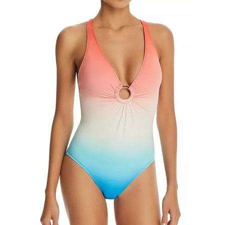 Women Gradient Back Cross One-Piece Swimsuit