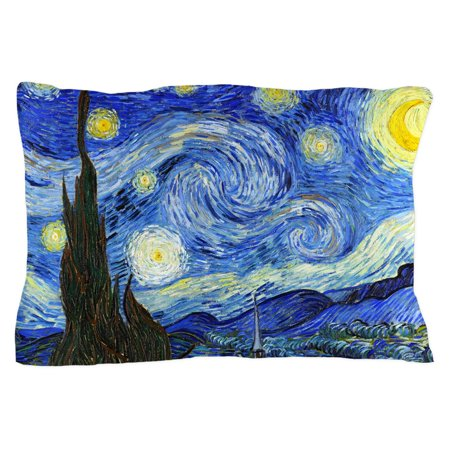 "CafePress - Van Gogh Starry Night - Standard Size Pillow Case, 20""x30"" Pillow Cover, Unique Pillow Slip"
