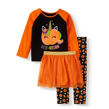 Celebrity Halloween Outfit (Halloween Toddler Girl Long Sleeve Graphic T-Shirt, Printed Leggings & Glitter Tutu, 3pc Outfit)