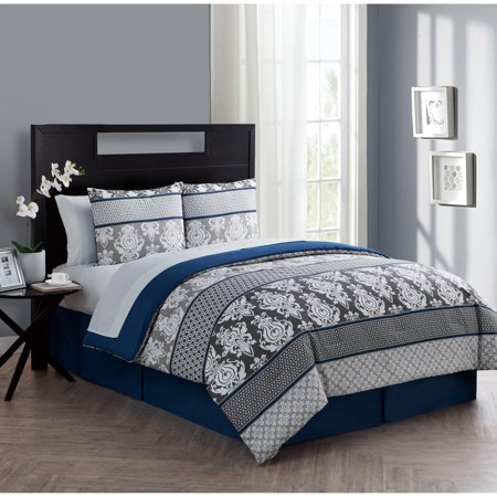 Vcny Home Beckham 6 8 Piece Damask Bed In A Bag Comforter