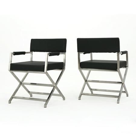 Black Arm Chairs (Vista Leather Modern Arm Chairs, Set of 2, Black)