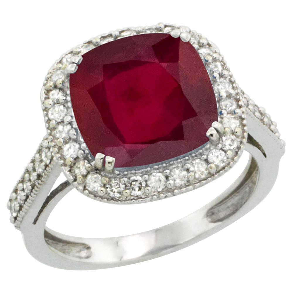 10k White Gold Diamond and Enhanced Genuine Ruby Ring Cushion-cut 10x10mm, size 5 by Gabriella Gold