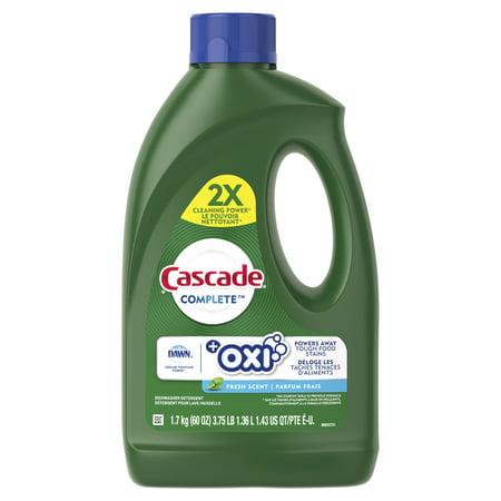 Cascade Complete +Oxi Gel Dishwashing Detergent, Fresh Scent, 60 fl oz