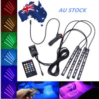 4PCS 9 LED RGB LED Strip Light 12V Music Control Car Atmosphere Light Remote Color Changing Interior Floor Lamp Strip Wireless IR Control With Remote Control Cigarette Light