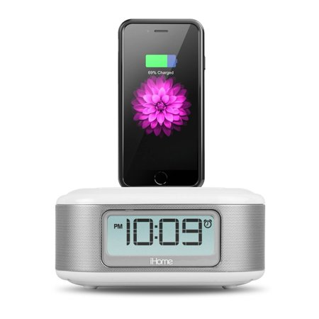 Certified Refurbished iHome iPL23 Stereo FM Clock Radio with Lightning Dock Charge/Play for iPhone 5/5S 6/6Plus 7/7Plus with USB Out to Charge any USB Device