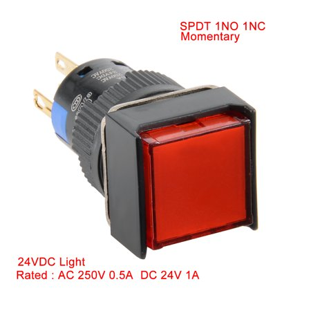 Unique Bargains AC 220V 3mA SPDT Momentary Pushbutton Switch Rect Head Red Light Illuminated - image 7 of 7