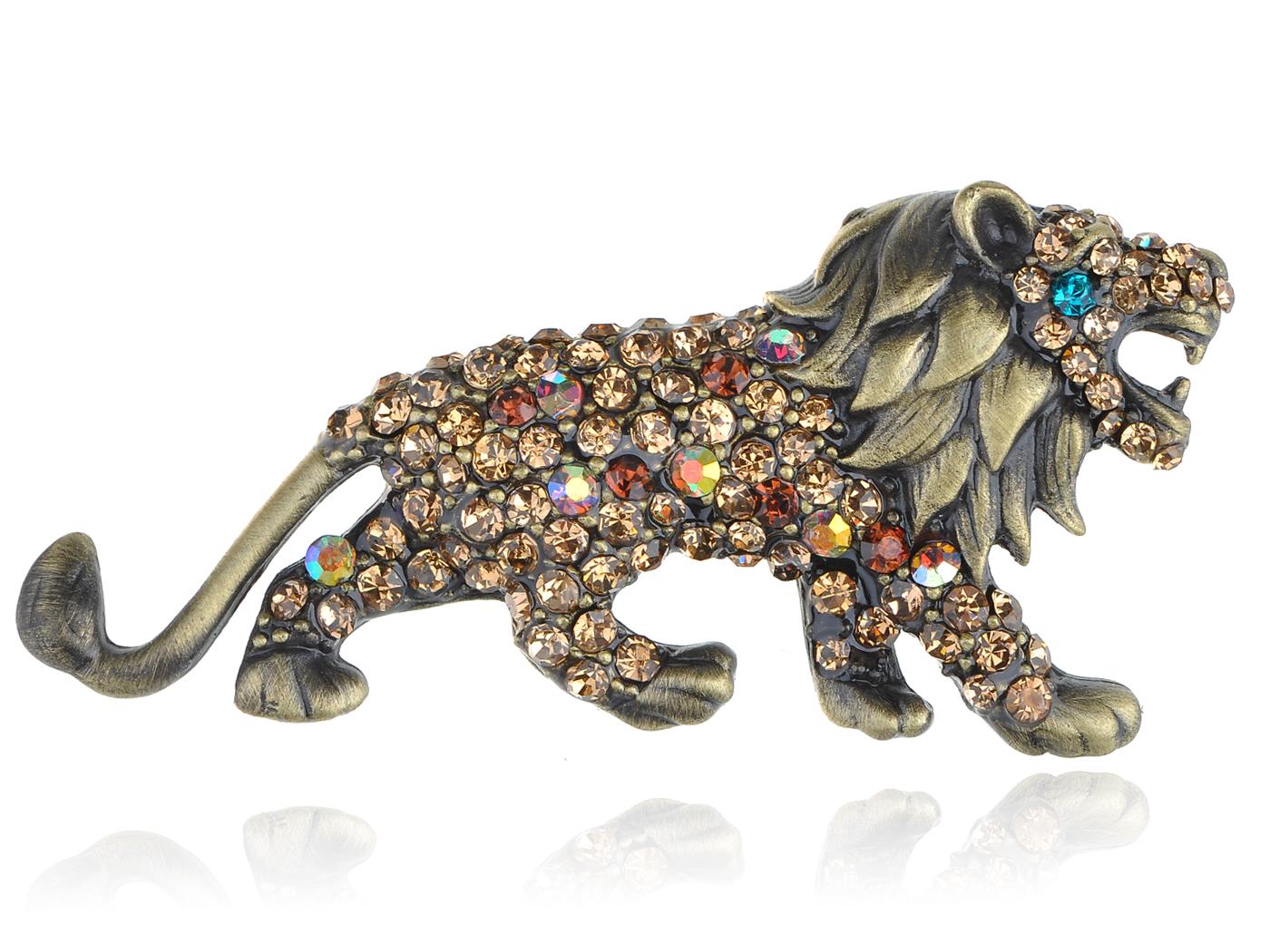 Geunine Topaz Crystal Rhinestone Roaring King Lion Animal Fashion Pin Brooch by