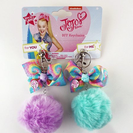 JoJo Siwa Matching Keychains for Girls Friends Sisters Clip-Ons Green & Purple - Girl Keychains