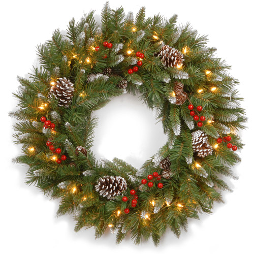 "National Tree 30"" Frosted Berry Wreath with 100 Clear Lights"