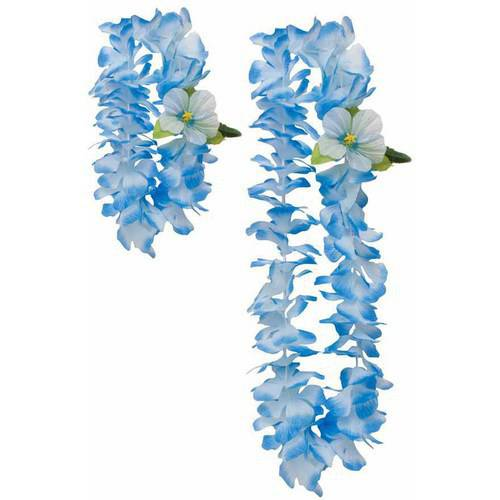 Luau Blue Lei and Headband, 2-Pack
