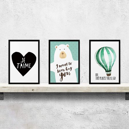 Electronicheart 3Pcs/set Color Leaf Canvas HD Printed Oil Paintings Hot Air Balloon Bear Posters Pictures Not Framed - image 2 of 7
