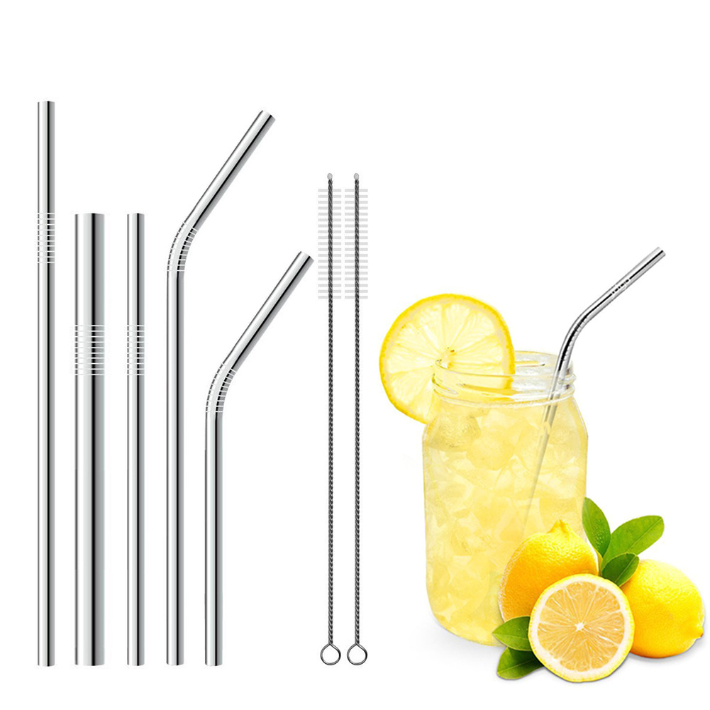 Akoyovwerve Stainless Steel Drinking Straws, Fits Ozark Trail 20 Ounce Tumbler - Strong Reusable Eco Friendly, Set of 5 with 2 Cleaning Brushes,Silver