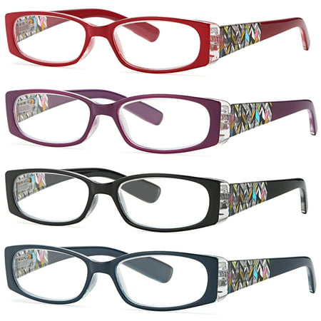 ALTEC VISION Pack of 4 Stylish Pattern Frame Readers Spring Hinge Reading Glasses for Women - 1.00x Magnification