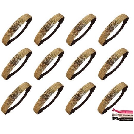 Glitter Headbands 12 Girls Headband Sparkly Hair Head Bands Gold](Gold Feather Headband)