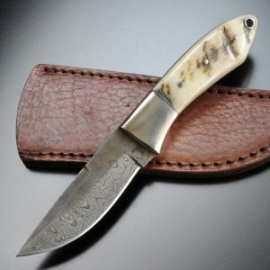 Damascus Knives 1050RM Damascus Hunter Drop Point Blade with Brown Leather Belt Sheath Multi-Colored