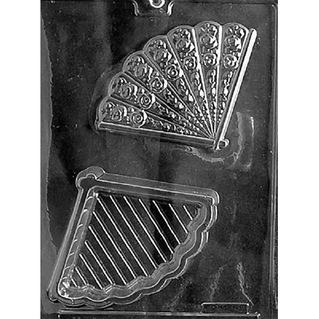Grandmama's Goodies W040 Fan Pour Box Wedding Shower Chocolate Candy Soap Mold with Exclusive Molding
