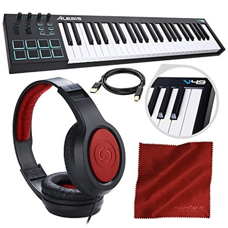 alesis v49 49 key midi keyboard drum pad controller with samson over ear headphone cable and. Black Bedroom Furniture Sets. Home Design Ideas