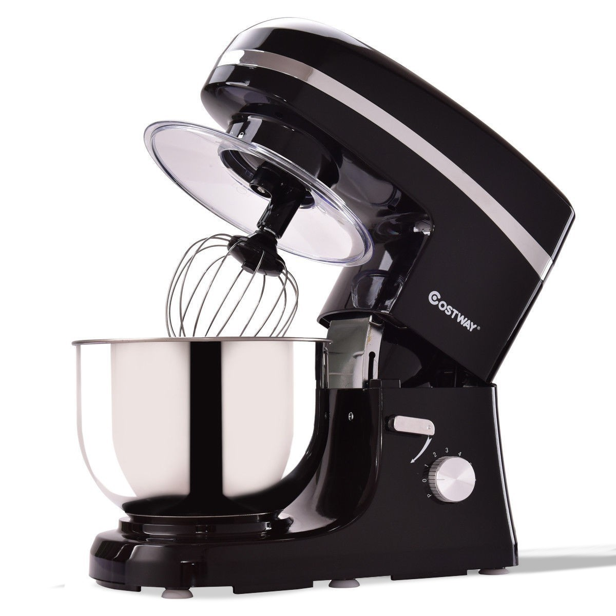 5.3 qt 800 W Electric Food Stand Mixer w/ Stainless Steel Bowl - White