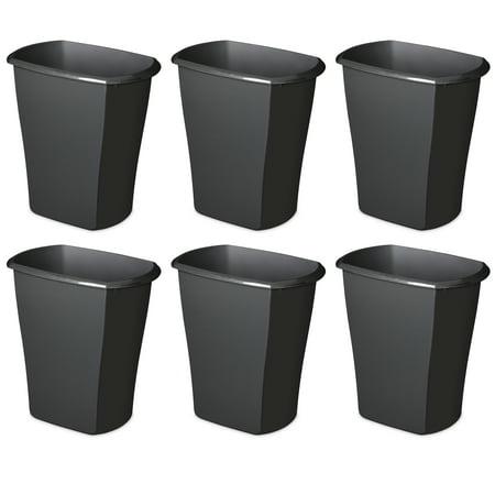 Sterilite, 5.5 Gal./21 L Rectangular Wastebasket, Black, Case of 6