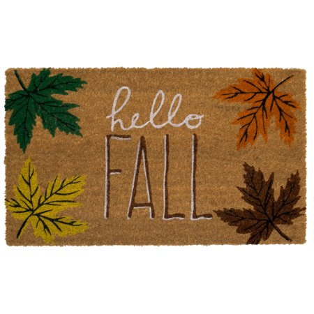 Hello Fall Coir Doormat Leaves Natural Fiber Outdoor 18