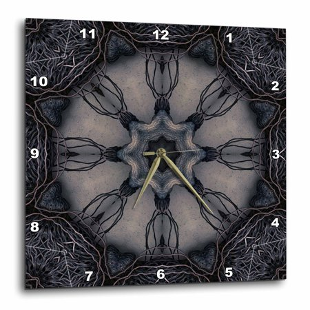 3dRose Dark Gothic Ornament 3 Mandala, Wall Clock, 15 by