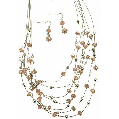 Light Tone Imitation Rhodium 7-Row Necklace with Pink and Silvertone Beads with Matching Earrings Set, 18.5""