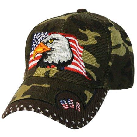 3dc9414e7ca USA Baseball Cap Patriotic Hat With Bald Eagle and American Flag For Men  and Women - Walmart.com