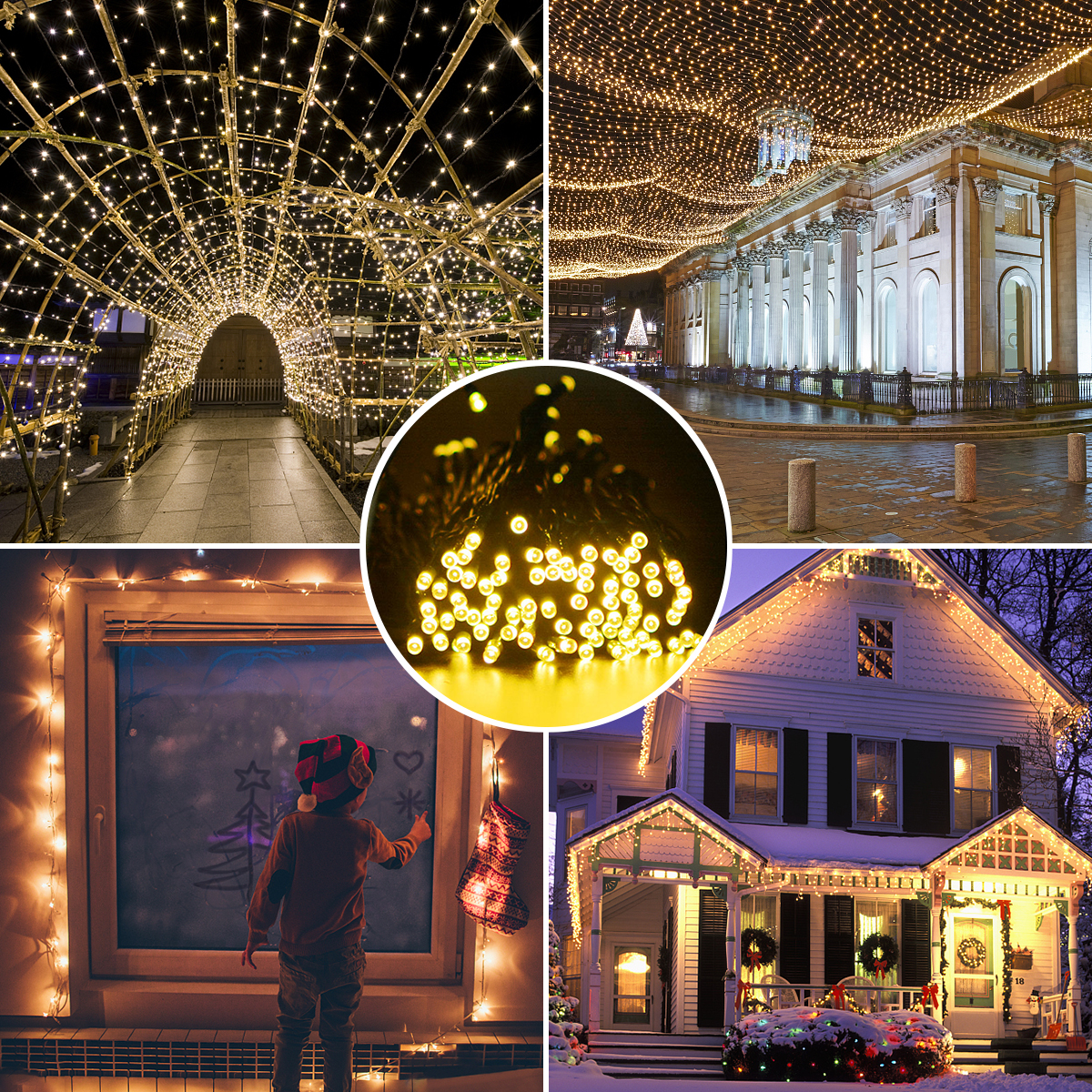 (2-Packs)Solar Rope String Lights Outdoor Decoration Lights,72ft 200 LED Waterproof Fairy Copper Wire Solar String Lights for Indoor Outdoor Patio,Lawn,Garden (Warm white) - image 1 de 15