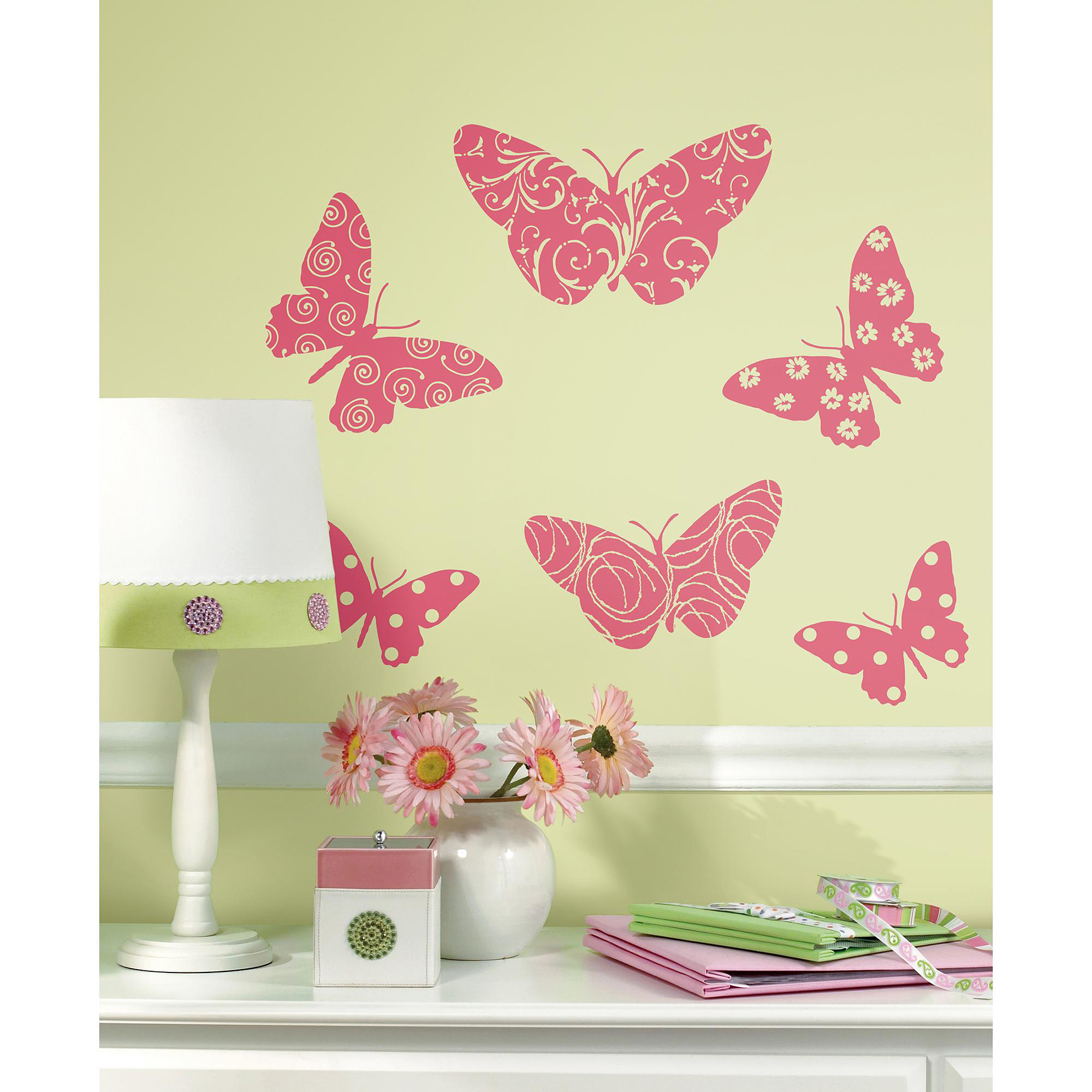 RoomMates Flocked Butterfly Peel and Stick Wall Decals