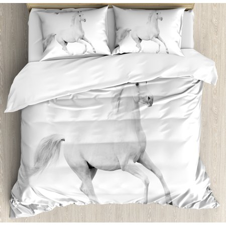 Black and White Decorations Queen Size Duvet Cover Set, White Stallion Running Horse Gallop Motion Speed Equestrian, Decorative 3 Piece Bedding Set with 2 Pillow Shams, White Black, by Ambesonne ()