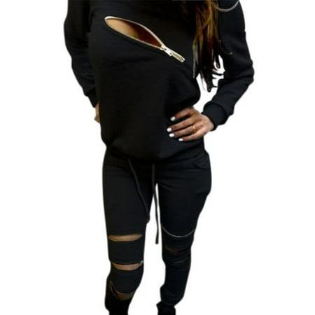 Women's Zipper 2Pcs Hoodie Sweatshirt+Pants Set Casual Tracksuit Grey Cotton Tracksuit