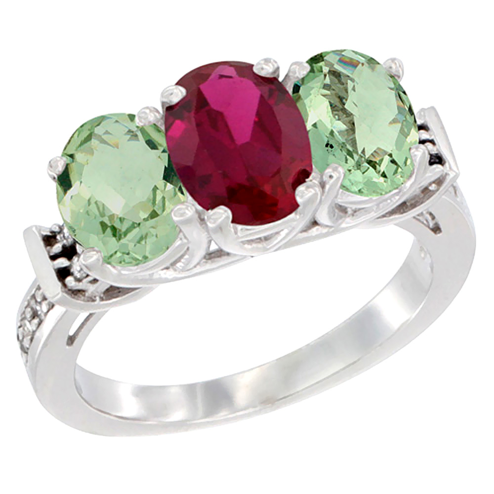 10K White Gold Enhanced Ruby & Green Amethyst Sides Ring 3-Stone Oval Diamond Accent, sizes 5 10 by WorldJewels
