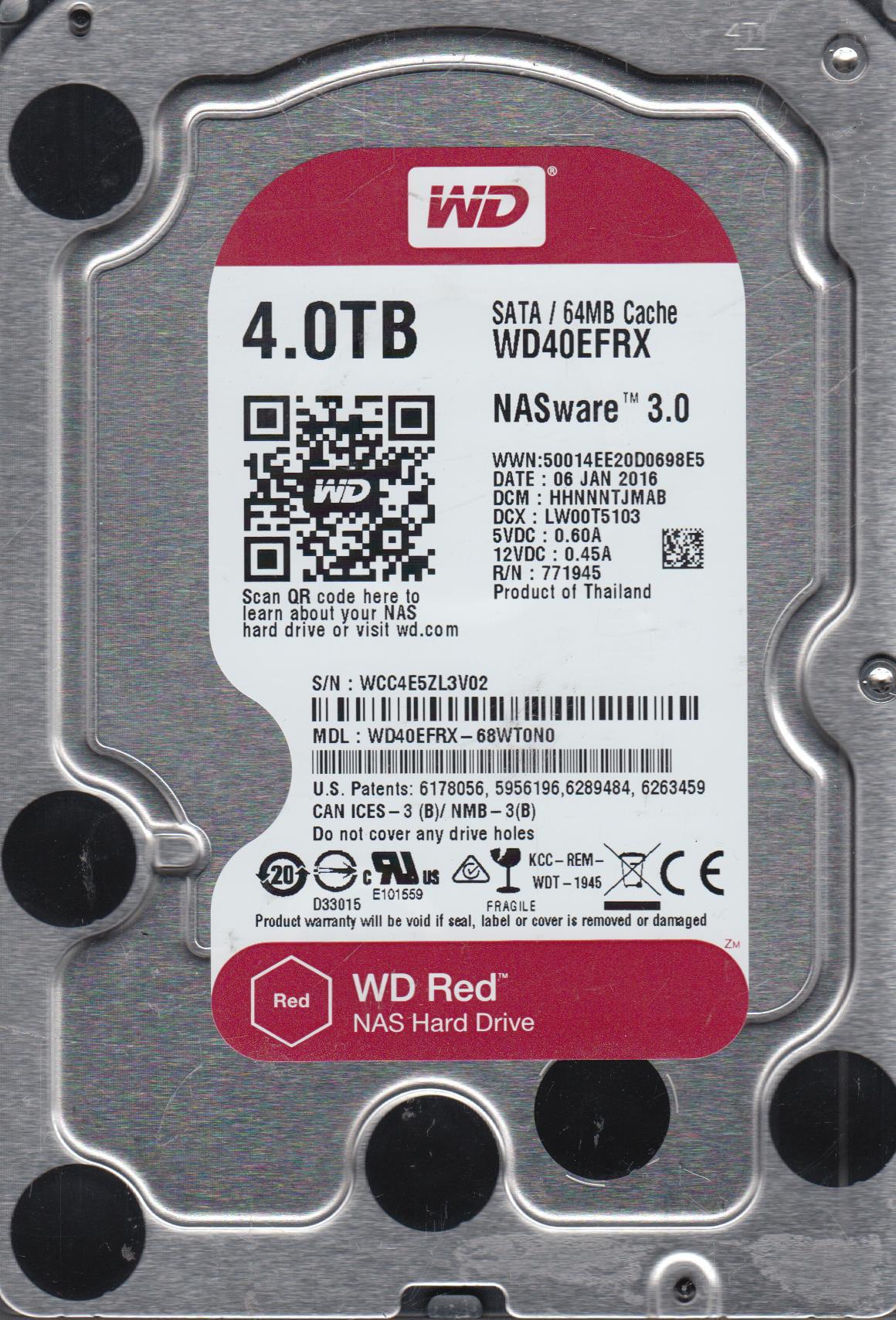 WD40EFRX-68WT0N0, DCM HHNNNTJMAB, Western Digital 4TB SATA 3.5 Hard Drive by Western Digital