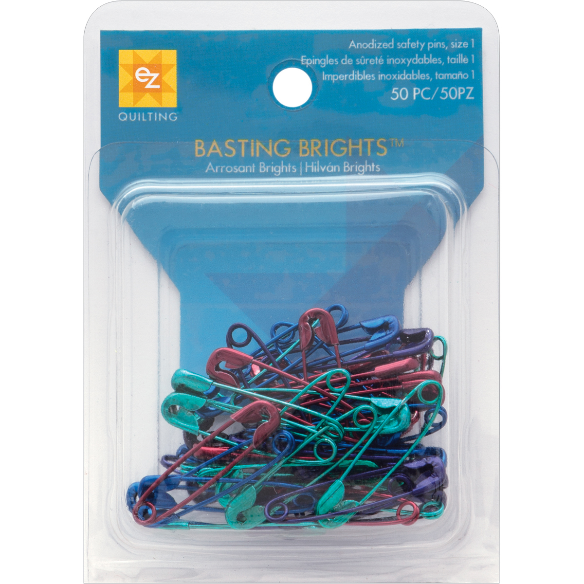 Wrights 670160 Basting Brights Multicolor Safety Pins, 50-Pack Multi-Colored