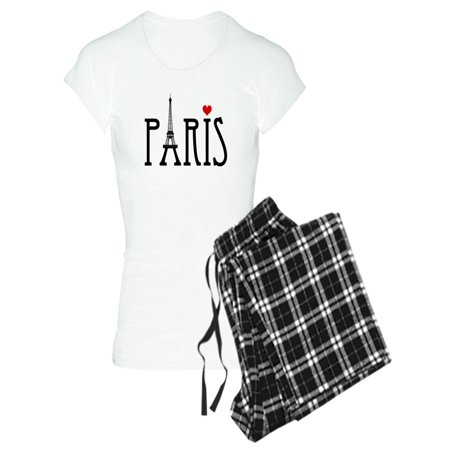 Eiffel Tower Pajamas (CafePress - Love Paris With Eiffel Tower And Red Heart Pajamas - Women's Light)