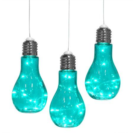 Set Of 3 Hanging Bulb Shaped Glass Lanterns Decorative Outdoor Lights Pendant