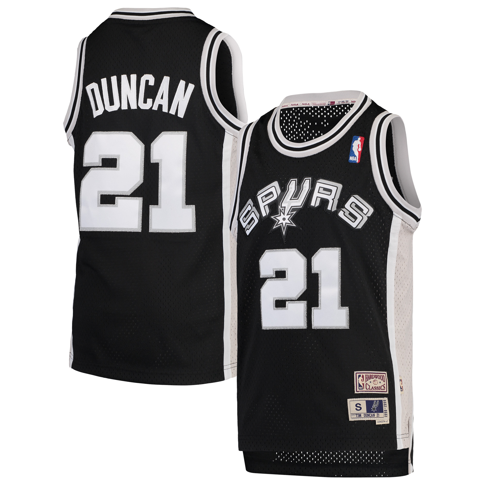 tim duncan san antonio spurs nba youth throwback 1998-99 swingman jersey