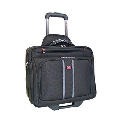 Mancini Biztech CompuRoller Double Compartment Wheeled Laptop Briefcase